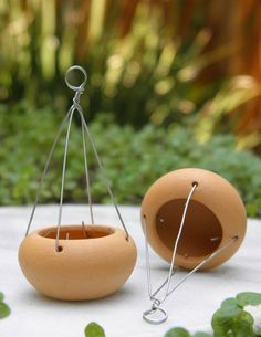 DIY Fairy Gardens - Page 9 of 1271 - These tiny hanging pots would be simple to make with polymer clay and wire :)