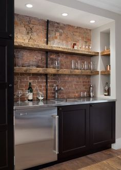 Awesome exposed brick wall for bar area