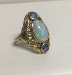 Antique Yellow Gold Ring with Large Oval Opal and Blue/Purple Stones – 18K Yellow Gold – Finger size 4