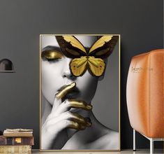Black and gold canvas art fashion woman butterfly lips canvas art gold white black posters abstract . black and gold canvas art Hall Painting, Spray Painting, Butterfly Fashion, Gold Canvas, Modern Portraits, Fashion Wall Art, Wall Art Pictures, Abstract Wall Art, Canvas Art Prints