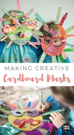 How to make cardboard masks with kids using simple materials. This creative cardboard mask project can be done for anytime fun, Halloween, or pretend play. #kidscrafts #cardboard #recycledcraft #kidsactivities #artsandcrafts #upcycled #craftsforkids via @The Artful Parent