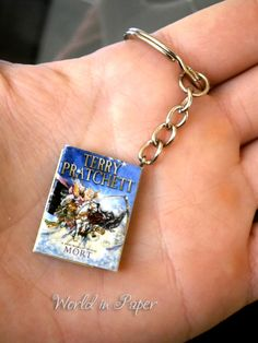 Mini book key holder, Terry Pratchett Mort, Free Shipping, origami key holder, Mort mini book, Discworld mini book, gift for him, men's gift
