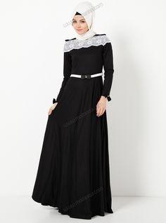 Omuzları Fiyonklu Uzun Elbise 4073 - Siyah - Modaysa
