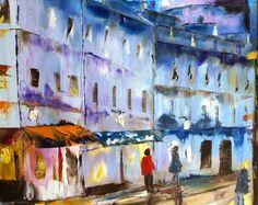 Paris, quartier Montmartre, le Sacré Coeur le soir,Huile au couteau, peinture urbaine , artiste français, création unique,livraison offerte