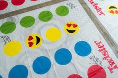 Great Emoji party idea: make your own emoi Twister board by decorating the yellow circles!   the Alison Show