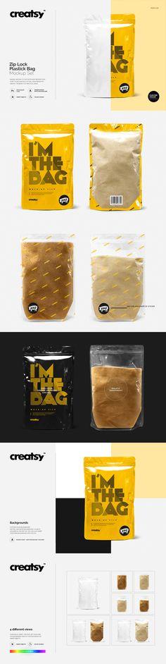 Zip Lock Plastic Bag Mockup Set