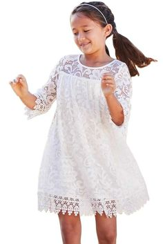 Girls White Floral Lace Day Dress