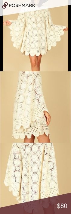 Scalloped crochet handmade Etsy Dress 70s style. Color is Cream, material is cotton. Beautiful summer dress, brand-new, custom-made. Dresses Mini
