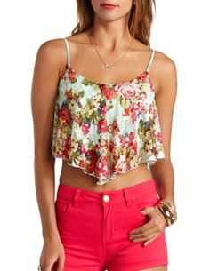 Floral Print Lace Swing Crop Top: Charlotte Russe