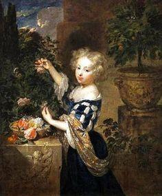 """""""Girl Arranging Flowers"""" by Caspar Netscher (1635-1684)"""