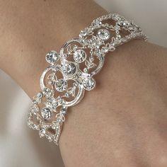 Vintage Inspired Crystal Bridal Bracelet, - Affordable Elegance Bridal -