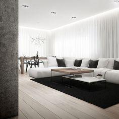 // monocrome // #apartment #architecture #wood #white #whitespace #whiteinterior #parquet #interior #inspiration #interiortoyou #interiorforall #decor #design #details #dailyinterior #dailyinspiration #livingroom #blackandwhite #moderninterior #monocrome #theapartment13