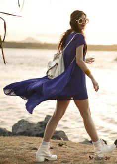 Blue Short Sleeve Split High Low Dress - Sheinside.com