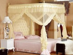 Details about 4 Corners Post Bed Curtain Canopy Mosquito Net Twin