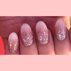 Baby boomer nails with crystal nails glitter  #nails #nailart #acrylicnails #acrylics #cjpacrylic #glitter #glitternails #roundednails