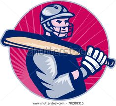 cricket sports batsman bat by patrimonio on illustration of a cricket batsman with bat side view with sunburst in background done in retro style,