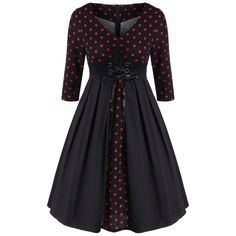 Retro Polka Dot Lace Up Dress - BLACK S