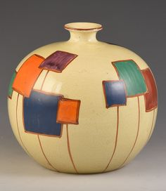 A shape that has turned up no more than maybe 4 times to my knowledge and from a range that seems to produce one of a kind vases. Fantasy in bizarre is Pottery Painting, Ceramic Painting, Ceramic Artists, Pottery Art, Retro Interior Design, Art Deco Artists, Chandelier Art, Art Deco Movement, Clarice Cliff