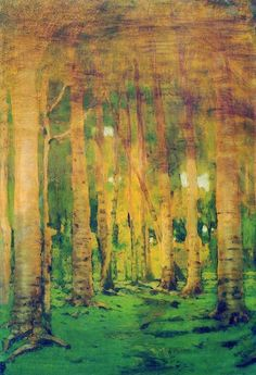 """$421, 36""""x48"""", oil painting reproduction, A birch grove spots of sunlight"""