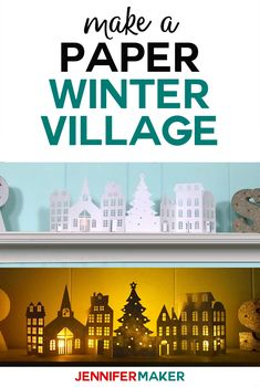 Paper Christmas Village & Houses - Jennifer Maker - Make a Paper Christmas Village & Houses with this free pattern and SVG cut file for the Cricut! Diy Christmas Village Houses, Putz Houses, Christmas Villages, Paper Christmas Decorations, Christmas Paper Crafts, Christmas Projects, 3d Cuts, 3d Christmas, Christmas Mantles