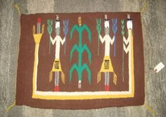 Yei Navajo rug / native american textile / 4 corners area / signed