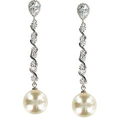 Cano Pearl and Cubic Zirconia Earrings