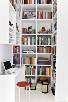 Great bookshelves ... Via The Bottom of the Ironing Basket: Office Inspiration....