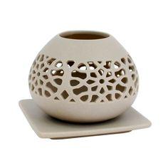 Cutout Porcelain Votive with Plate