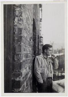 Allen Ginsberg Jack Kerouac, railroad brakeman's rule-book in pocket…206 East 7th Street near Tompkins Park, Manhattan, probably September 1953