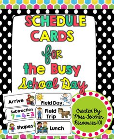 This is a zip document with pre made schedule cards. If there is something specific you need to help with your scheduling needs, there are BLANK editable schedule cards that you can use. There are two documents one is the PDF to simply print and go. Classroom Schedule Cards, Kindergarten Schedule, Kindergarten Freebies, Classroom Freebies, 2nd Grade Classroom, Classroom Setup, Kindergarten Classroom, School Classroom, Classroom Activities