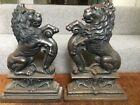 Antique Victorian 19thC cast iron imposing sejant lion doorstops 36cm 4.5kg each
