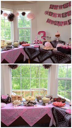 J's Story: {Katelyn's Birthday} Cowgirl Party striefler striefler Lux I could totally see you doing a party like this! Horse Theme Birthday Party, Rodeo Birthday Parties, Country Birthday Party, Rodeo Party, Horse Party, Cowgirl Party, Cowboy Birthday, 3rd Birthday, Birthday Ideas