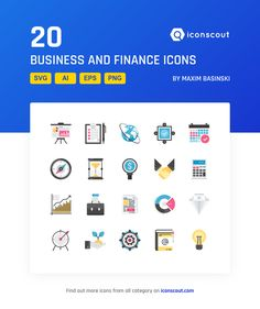 Business And Finance  Icon Pack - 20 Flat Icons