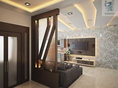 The glass wall living room designs and ideas are some of the latest partition designs that make the room look sleek and classy. When you have white walls and a spacious living room you can incorporate this idea well. Wooden Partition Design, Glass Partition Designs, Wooden Partitions, Living Room Partition Design, Wall Partition, Plafond Design, Modern Home Interior Design, Spacious Living Room, Ceiling Design