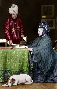 """Queen Victoria and Abdul Karim at Balmoral castle ~ She called him """"Munshi"""". He taught the Queen Hindi. Queen Victoria Series, Queen Victoria Family Tree, Queen Victoria Prince Albert, Victoria And Albert, Melbourne, Reine Victoria, Royal Families Of Europe, English Royal Family, Elisabeth Ii"""