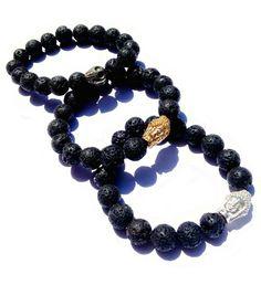 Bali Natural Lava Stone Mala Bracelet $18 - Gold/Silver Buddha or Skulls - Gifts for Men