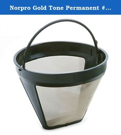 """Norpro Gold Tone Permanent #4 Coffee Filter NEW. Product Description: *Gold Tone fine Stainless steel mesh *#4 filter Replaces #4 cone-style filter for 8-12 cup automatic drip coffee makers. This replacement now states that it is for 10-12 cup automatic drip coffee makers. *3.75"""" tall, 4.75"""" diameter *Environmentally friendly *Detachable handle and dishwasher safe *Brand New - Factory Sealed."""