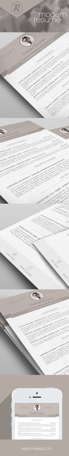 Modern Resume Template - 110500 | Premium line of Resume  Cover Letter Templates. Edit with Microsoft Word, Apple Pages - ResumeWay - Modern Resume