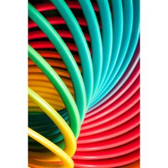 Rainbow Slinky! Abstract photography, nursery, decor, red, green,... ($20) ❤ liked on Polyvore featuring home, home decor, wall art, backgrounds, yellow home decor, red wall art, red home accessories, red home decor and green wall art
