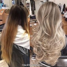 """Major color correction, formula: full heavy highlights on the roots to ends with foils to a pale blonde with the magic olaplex using wella blondor with 20…"""
