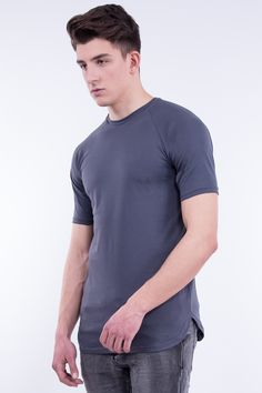 Longline Raglan T-Shirt In Curved Hem
