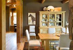 True Residence - rustic - Dining Room - Portland - Alan Mascord Design Associates Inc Dining Room Hutch, Dining Room Design, Dining Rooms, Kitchen Hutch, Kitchen Reno, Dining Area, Dining Table, Oak Trim, Rustic Kitchen