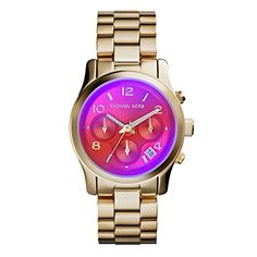 MICHAEL Michael Kors Michael Kors 'Runway' Iridescent Crystal Chronograph Watch, available at Bijoux Michael Kors, Michael Kors Gold, Michael Kors Runway Watch, Limited Edition Watches, Michael Kors Collection, Stainless Steel Bracelet, Crystal Jewelry, Silver Jewelry, Lady