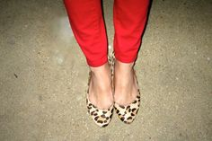 Red pants and leopard flats