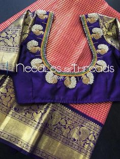 Lovely designer blouse with silk saree Read about . Lovely designer blouse with silk s Peacock Blouse Designs, Pattu Saree Blouse Designs, Simple Blouse Designs, Stylish Blouse Design, Fancy Blouse Designs, Bridal Blouse Designs, Sari Blouse, Traditional Blouse Designs, Traditional Sarees