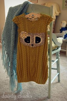Lime Green Racoon upcycled sweater dress