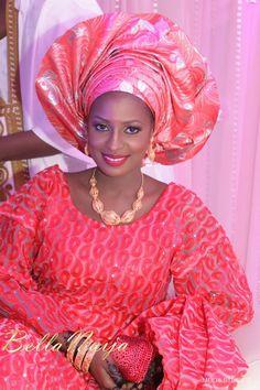 Bella Naija bride Ameena in Makeup by Mamza Beauty. Gele naija Nigerian bride Hausa northern Nigeria wedding engagement traditional