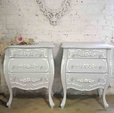"""Chic Shabby Romantic French night table. PRICE IS FOR ONE.  MEASURES: 26"""" L X 16"""" D X 32"""" H"""