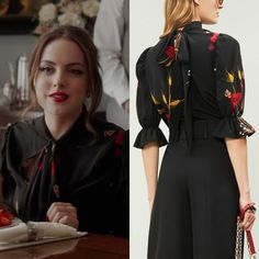 Fallon Carrington wears this black floral-print short-sleeve puff-shoulder crepe de chine Valentino blouse on Dynasty Casual Chic Outfits, Classy Business Outfits, Cute Outfits, Fashion Tv, Fashion Outfits, Dynasty Clothing, Tv Show Outfits, Stylish Dress Designs, Celebrity Outfits