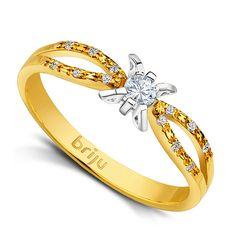 B0452.Pierścionek z brylantem z żółtego złota w próbie 585 - Brylant. http://sklep.briju.pl/pierscionek-z-brylantem-b0452-100.html